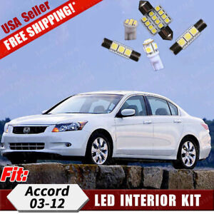 18x Pure White Led Bulbs Interior Lights Package Kit For Honda Accord 2003 2012