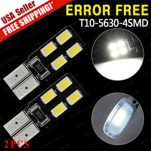 2x Canbus Error Free T10 194 168 W5w 5630 Led 4 Smd White Side Wedge Light Bulbs