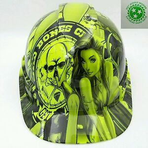 Hard Hat Custom Hydro Dipped Osha Approved Bad Bones Club Lime Green