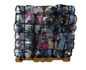 Pallet Of 25 Lb Compressed Bag Of Colored T shirt Rags 40 Bags 1 000 Lbs