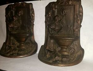 Antique Bronze Art Nouveau Lady Urn Fountain Garden Statue Sculpture Book Ends