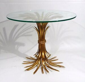 Hollywood Regency Mid Century Italian D Oro Wheat Sheaf Side Table 1950s