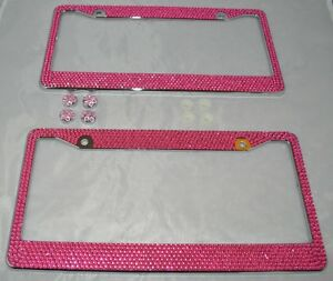 2 Pink Bling Glitter Crystal Rhinestone License Plate Metal Frame With Screw Cap