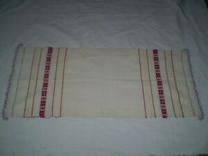 Vintage Hand Woven Towel 100 Cotton Whiteold Hand Made Fabrics Size 35 X14