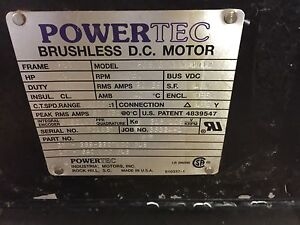 Powertec Brushless Dc Motor 1750rpm 15hp F256w3f0n0a1012 Frame 256t new Unused