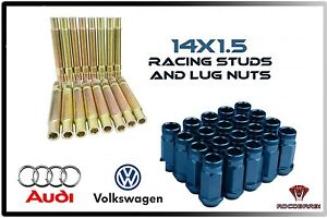 Audi Volkswagen Racing Stud Conversion 14x1 5 Thread Pitch Blue Lug Nuts
