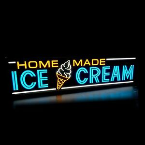 Home Made Ice Cream Led Sign Bord Business Horizontal Light Box Neon Alternative