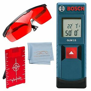 Bosch Glm 15 Compact Laser Measurer Kit Red Glasses cleaning Cloth Easy Use