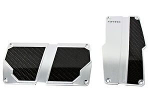 Nrg Brushed Aluminum Sport Pedal Silver W Black Carbon For Automatic Trans