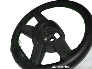 Real Black Leather Steering Wheel Cover Green Stitching For Dodge Caliber 06 12