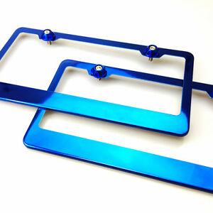 2 Powder Coating Blue Chrome Stainless Steel License Plate Frame W cap 12 5x6 25