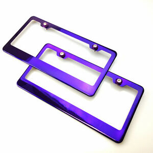 Stainless Steel Purple Chrome License Plate W screw Cap Holder Frame Car Suv X2