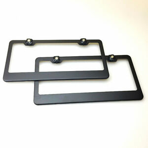 12 5x6 25 Powder Coating Matte Black Stainless Steel License Plate Frames W cap