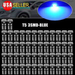 50x Pure Blue T5 3014 Led 74 17 18 Dash Speedometer Gauge Cluster Light Bulbs