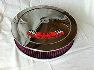 Chrome Air Cleaner Washable Red Filter 14 Edelbrock Carburetor Ford 289 Hp