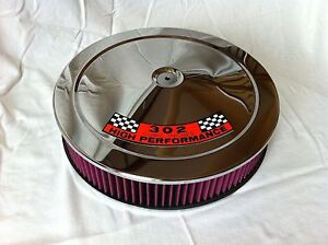 Chrome Air Cleaner Washable Red Filter 14 Edelbrock Carburetor Ford 302 Hp