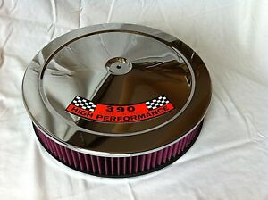 Chrome Air Cleaner Washable Red Filter 14 Edelbrock Carburetor Ford 390 Hp