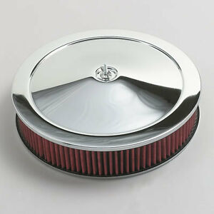 Chrome Air Cleaner Washable Red Filter 14 Chevy 55 82 Fits Quadrajet Carburetor