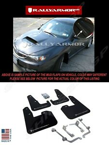 Rally Armor Black Mud Flaps W Silver Logo For 08 14 Sti Hb 11 14 Wrx Hatchback