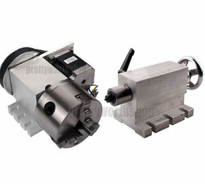Hollow Shaft 4th Axis Router Rotational Axis 100mm 3 Jaw Chuck Cnc tailstock