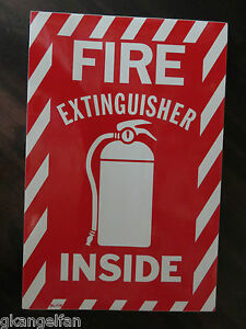 1 Sign Fire Extinguisher Inside With Picture 6 x9 Sign Self Adhesive Vinyl