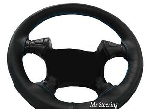 For Ford Mustang 4 94 04 Real Black Leather Steering Wheel Cover Sky Blue Stitch