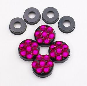 Hot Pink Crystal Rhinestone Screw Black Caps For Bling License Plate Frame