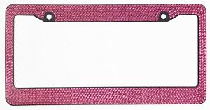 Hot Pink Crystal Rhinestones On Black License Plate Frame 7 Rows Special Bling