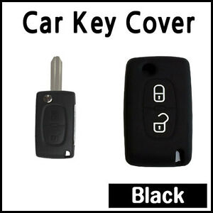 Car Key Cover Silicone Case Fits Peugeot 207 307 308 407 Remote Flip Key Black