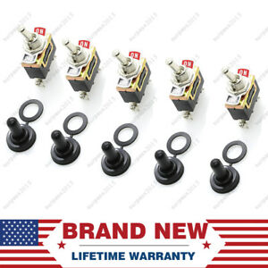 5 X Spst 2pin Heavy Duty 10a 15a125v On Off Rocker Toggle Switch Waterproof Boot