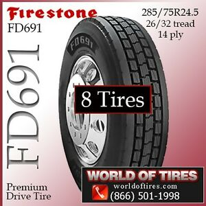 Firestone Commercial Truck Tires Fd691 24 5lp 8 Tires Free Shipping