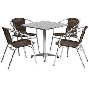 27 5 square Aluminum Indoor outdoor Restaurant Table With 4 Brown Rattan Chairs