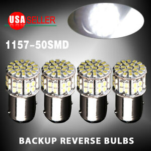 4x 6000k White 1157 Bay15d 50 Smd Led Tail Stop Brake Light Bulbs 7528 12v