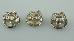 Set Of 3 Antique Victorian Sterling Silver Repouss Womens Shirt Stud Buttons