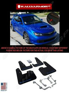 Rally Armor Black Mud Flaps W Blue Logo For 08 14 Sti Hb 11 14 Wrx Hatchback