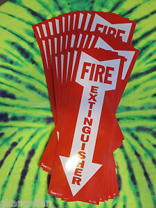 Lot Of 25 4 X 12 Self adhesive Vinyl fire Extinguisher Arrow Signs new