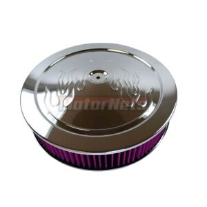 14 x3 Round Flame Muscle Car Washable Filter Chrome Steel Air Cleaner Chevyford