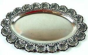 Tray Sterling Silver Punched 800 Chiselled Italy Circa 1920