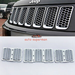 Chrome Front Mesh Grille Honeycomb Trim Kit For Jeep Grand Cherokee 2014 2016