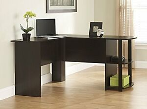 Desk Business Home Office Computer Shelves Easy Assemble L shaped Dark Cherry