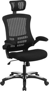 High Back Black Mesh Executive Swivel Office Chair With Flip up Arms chrome Base