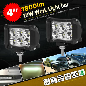 2pc 4 inch 18w Led Work Light Bar 4wd Offroad Spot Pods Fog Atv Suv Driving Lamp