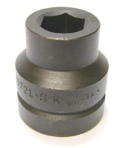 Sk Tools 85721 1 Inch Drive 6 Point Metric Impact Socket 21mm