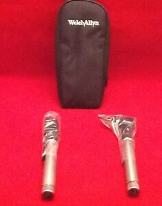 New Welch Allyn Otoscope Ophthalmoscope Pocket Scope Diagnostic Set Silver