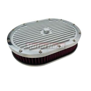 12 Elite Finned Aluminum Air Cleaner Satin 4 Holley Edelbrock Washable Sbc Bbc