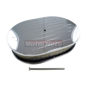 Chevy ford chrysler 12 Oval Chrome Aluminum Air Cleaner Ball Milled