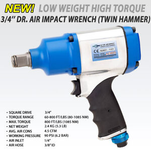 Fit 3 4 Air Pneumatic Impact Wrench Twin Hammer 8 Torque Selection 1085nm