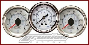 Viair 3 Gauge Pack 220 Psi Dual Single Needle White Face Air Ride Suspension