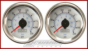 Viair 2 Air Pressure Gauges 2 White Dual Needle Air Ride Suspension 220 Psi