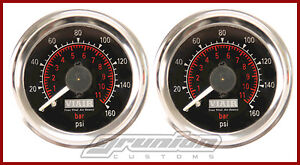 Viair 2 160 Psi Air Pressure Gauges 2 Black Dual Needle Air Bag Suspension